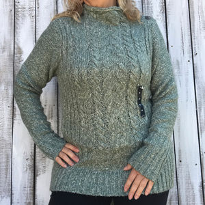St. John's Bay Green Cream Cable Knit Sweater